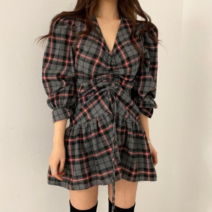 Hb0d92e52a78f4f8980052194d7abbe36X - Autumn V-Neck Puff Sleeves Waist-Controlled Color-Hit Plaid Drawstring Mini Dress