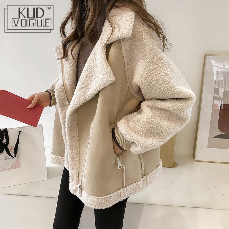 Women Winter Oversized Teddy Jacket Chic Faux Suede Fur Collar Coats Aviator Motorcycle Biker Jackets Female Lamb Wool Coat New 1
