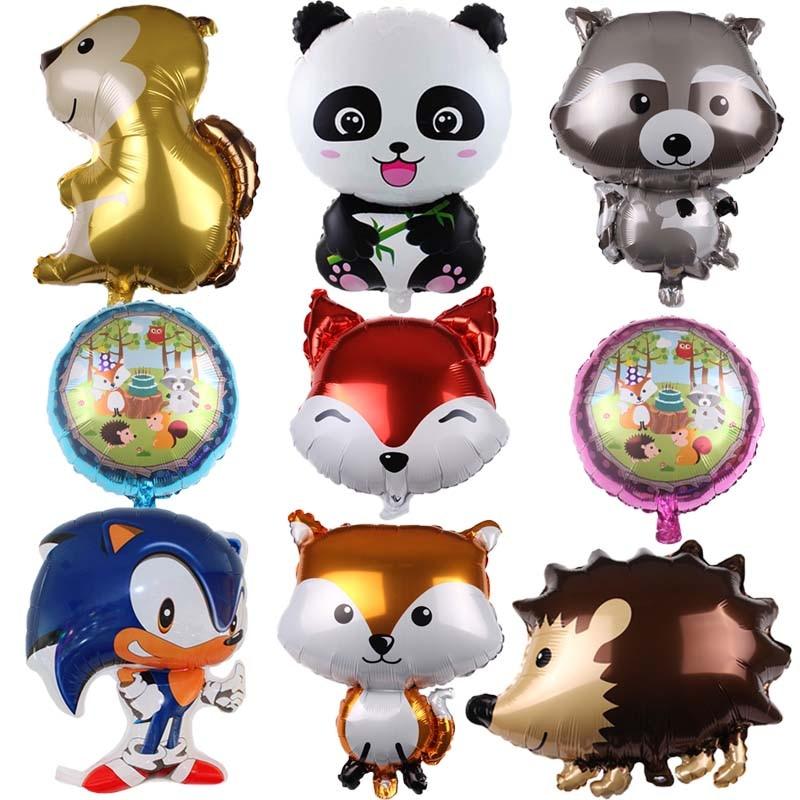 1 шт. большие воздушные шары в форме животных енота и лисы гелий Звуковой шар с днем рождения джунгли вечерние украшения для детей