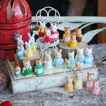 Wholesale foreign original bulks100pcs forest animal family mini cute kawaii kitten bunny bear doll kids toys for children girls