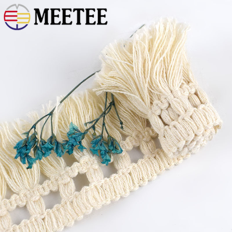 10Yards 5cm Wide Beige Cotton Fringe Lace Trim Fabric Tassel Ribbon DIY Sewing Curtain Home Decor Garment Craft Material