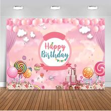 Сладкие Конфеты Девушка Тема День Рождения Фоне Розового Шарика Украшения Баннер Фон Фото