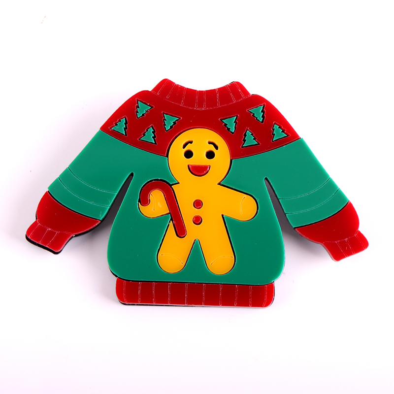 Christmas 2021 Sweater Badges Brooch for Women Pocket Pins Gingerbread Man Jewelry Fashion Accessories