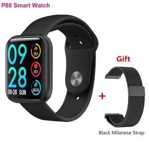 P80 inteligentny zegarek mężczyźni kobiety IP68 wodoodporny Sport Tracker Fitness wiadomość z przypomnieniem snu tętno inteligentny zegarek do monitorowania PK IWO 11 12