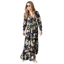 Sexy Ladies Deep V-neck Long Sleeve Chiffon Dress Women Casual Long Sleeve Bohemian Printed Dress Fashion Bandage Long Dresses