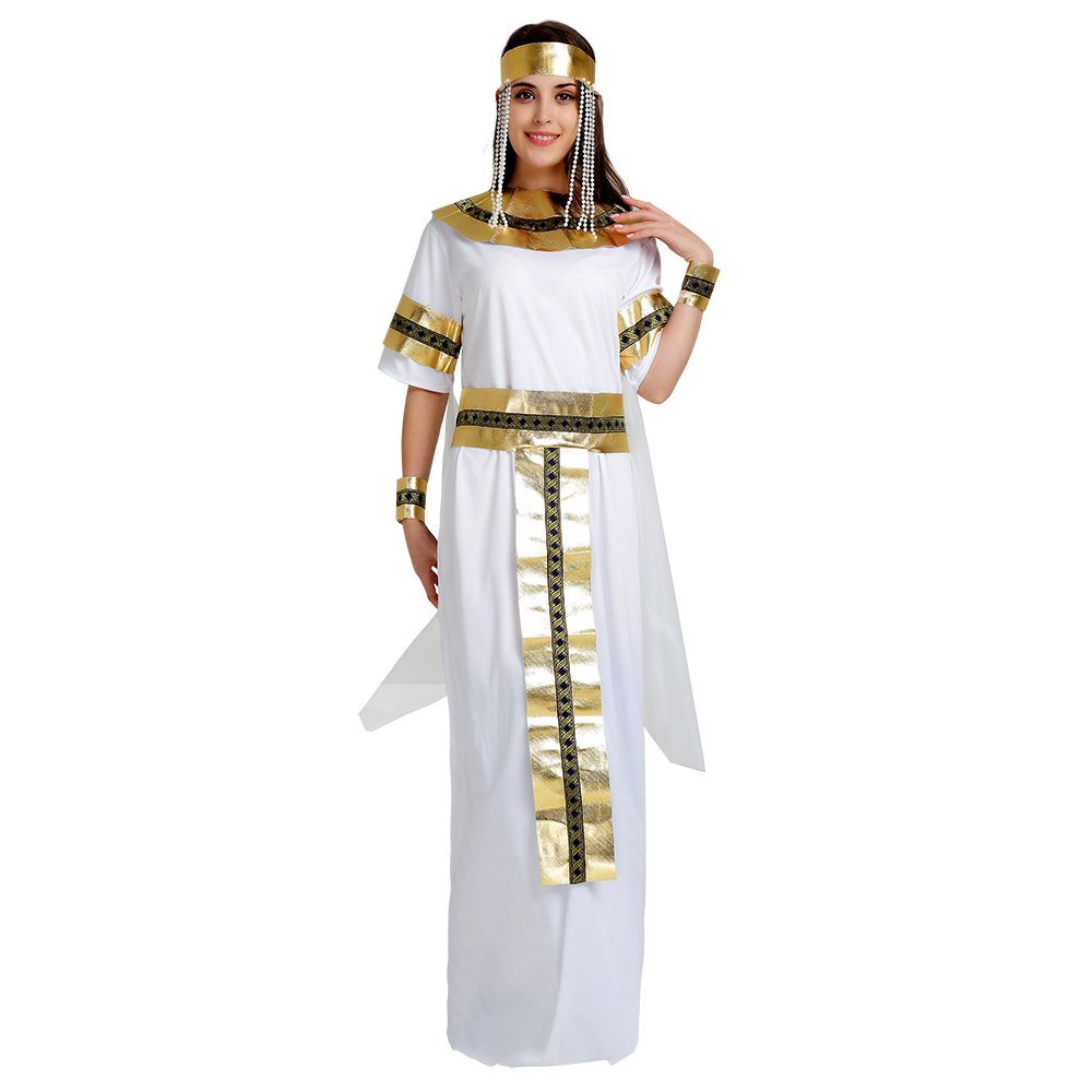 Egyptian Queen Cosplay Costume Halloween Adult Costume For Women White Long Dress With Gold Accessories Beautiful Outfit