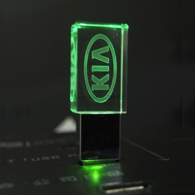 128GB Crystal USB Pendrive 2.0 with Car Logo KIA Flash Drive 4GB 8GB 16GB 32GB USB Drive 2.0 Memory Stick LED Photography Gifts 3