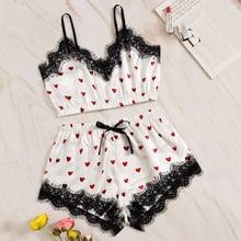 Heart Print Satin Pajama Set Women Sexy Lace Summer Casual Sleeveless Spaghetti Strap Sleepwear Cute Fresh Girls Nightwear