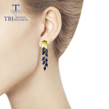 Sapphire Clasp Earrings 925 Sterling Silver 5