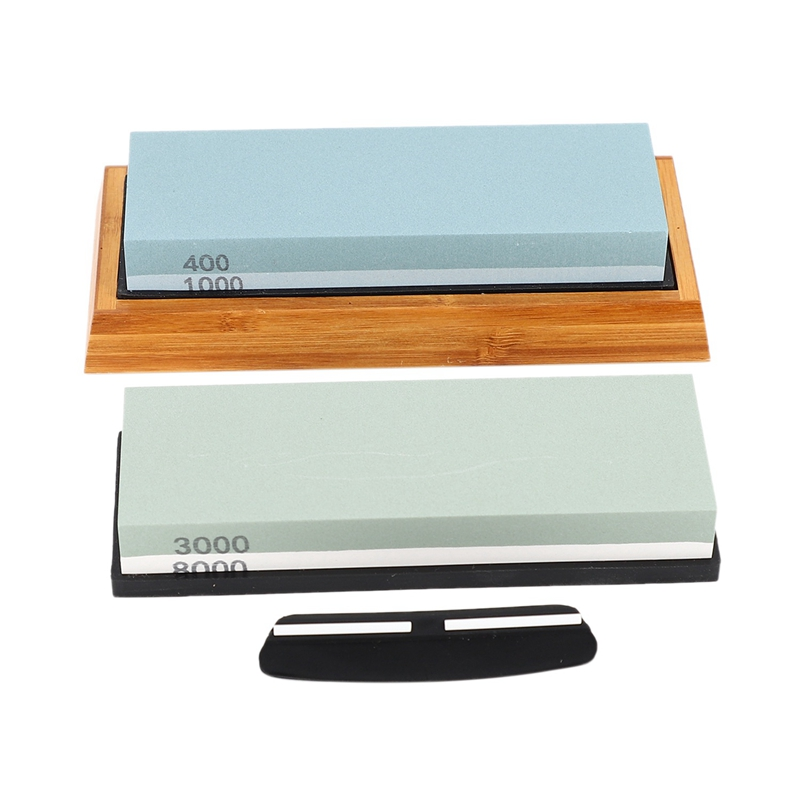 Sharpening Stone Set, Whetstone 2-IN-1 400/1000 <font><b>3000</b></font>/<font><b>8000</b></font> <font><b>Grit</b></font>, Waterstone Wooden Holder and Knife Guide Included image