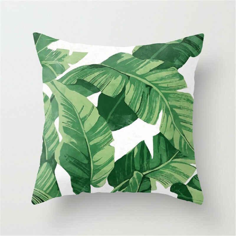 ดอกไม้พืชเขตร้อนใบปลอกหมอนปลอกหมอน home decor rainforest สีเขียวใบพืชโยนโซฟาเบาะรถเบาะรถ