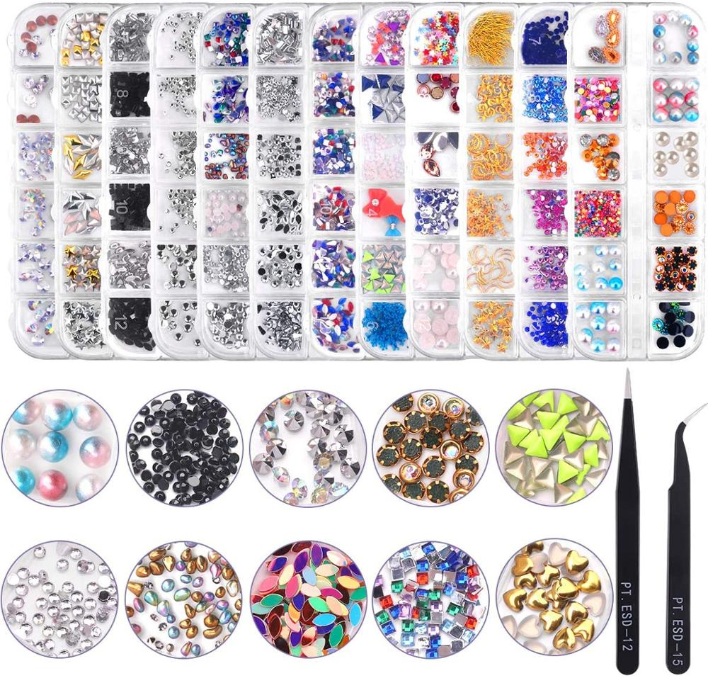prego strass de cristal 12 caixas de 144 pecas cor misturada 3d arte deco strass joias