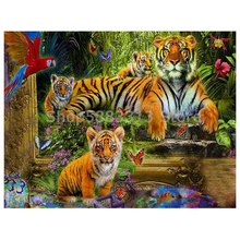 Animals Tiger Diamond Painting embroidery 5d diy full round diamond mosaic paint daimond painting