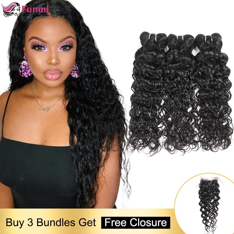 Free Closure Human Hair Bundles Brazilian Hair Weave Bundles Water Wave Hair Bundles with Closure Human Hair Bundles Non-Remy