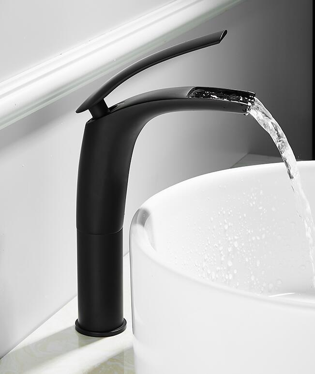 Vidric Bathroom Basin Faucet Black Baking Solid+ Free Hoses, Brass Faucet Sink Mixer Tap Hot And Cold Waterfall Basin Faucet