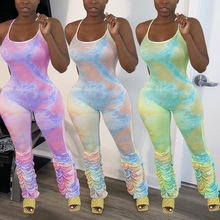 2021 Spring Print Tie Dye Women Jumpsuit Strapless Stacked Joggers Sleeveless Pleated Long Rompers Womens Jumpsuit Outfit