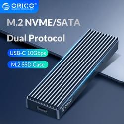 Двойной протокол ORICO M.2 SSD чехол, поддержка M2 NVME NGFF SATA SSD диск для PCIE M Key B + M USB C 10 Гбит/с Корпус жесткого диска