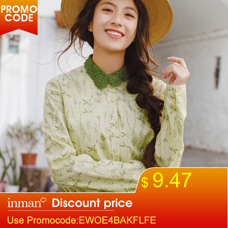 INMAN 2019 New Products Women   Spring Clothes  Embroider Lapel Blouses Shirts Tops