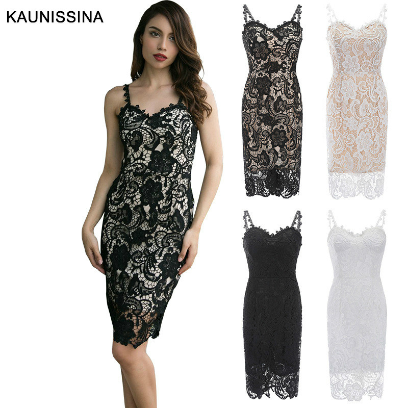 KAUNISSINA Lace Pencil Cocktail Dresses Sleeveless Strap Sexy Homecoming Dress Club Formal Occasion Gowns