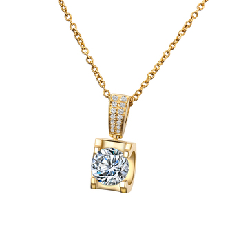 Classic 18K Yellow Gold long Pendant with 1carat round moissanite stone Gold Chain long Necklace Gift For Women in Fine Jewelry 1