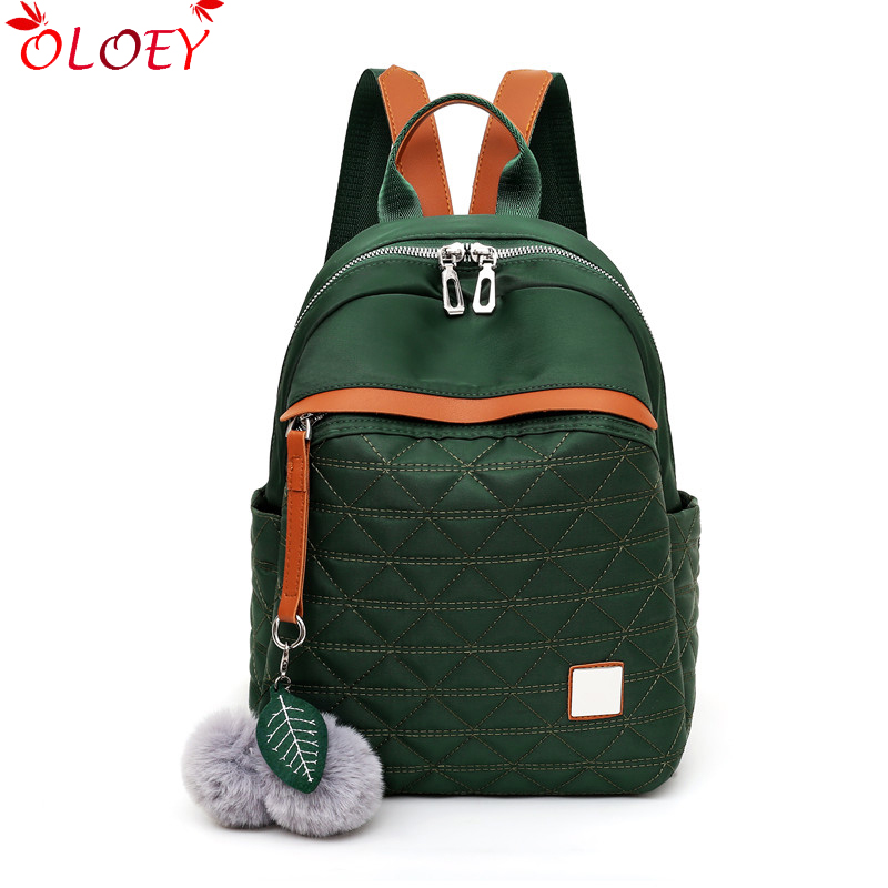 Brand New Women Backpack Teenage School Bag Diamond Lattice Waterproof Oxford Anti-theft Backpack With Fur Ball Ornament Hot