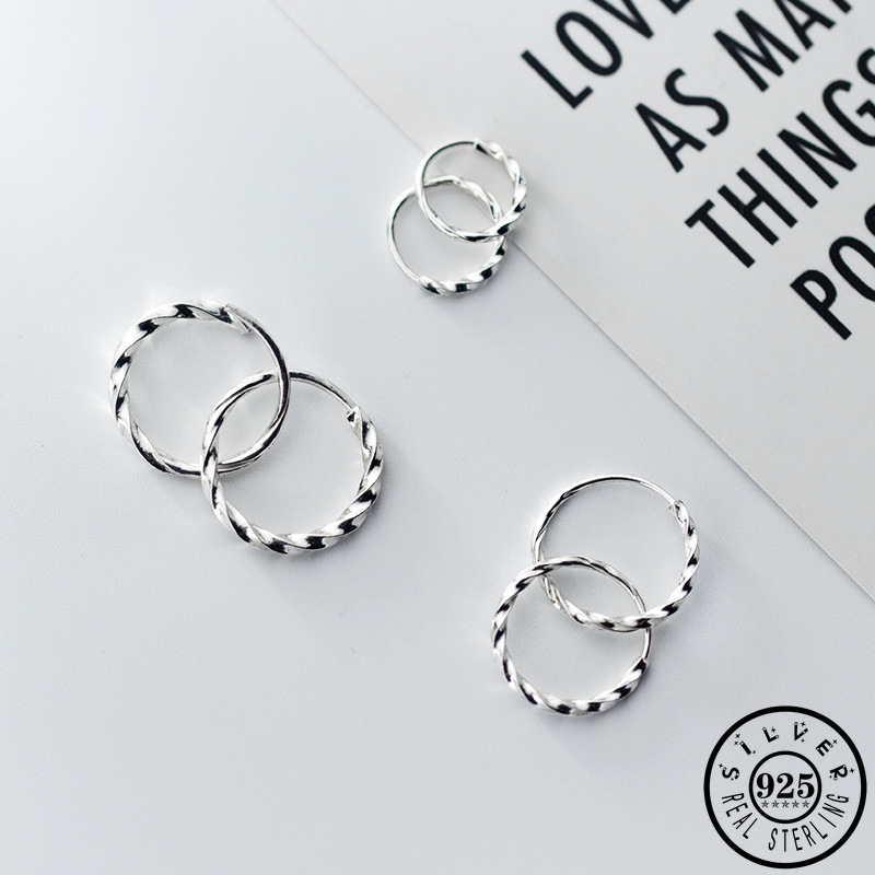 925 Sterling Silver Small Hoops Piercing Earrings Trendy Korean Hip Hop Round Circle Ear Rings Fine Jewelry For Women Lady