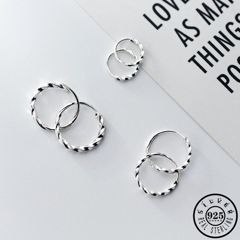 925 Sterling Silver Small Hoops Piercing Earrings Trendy Korean Hip Hop Round Circle Ear Rings Fine Jewelry For Women Lady