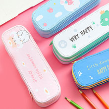1pc Creative Cartoon Double layer Large Capacity Cute Pencil Box Pouch Kids Gift  kawaii case Office School Supplies