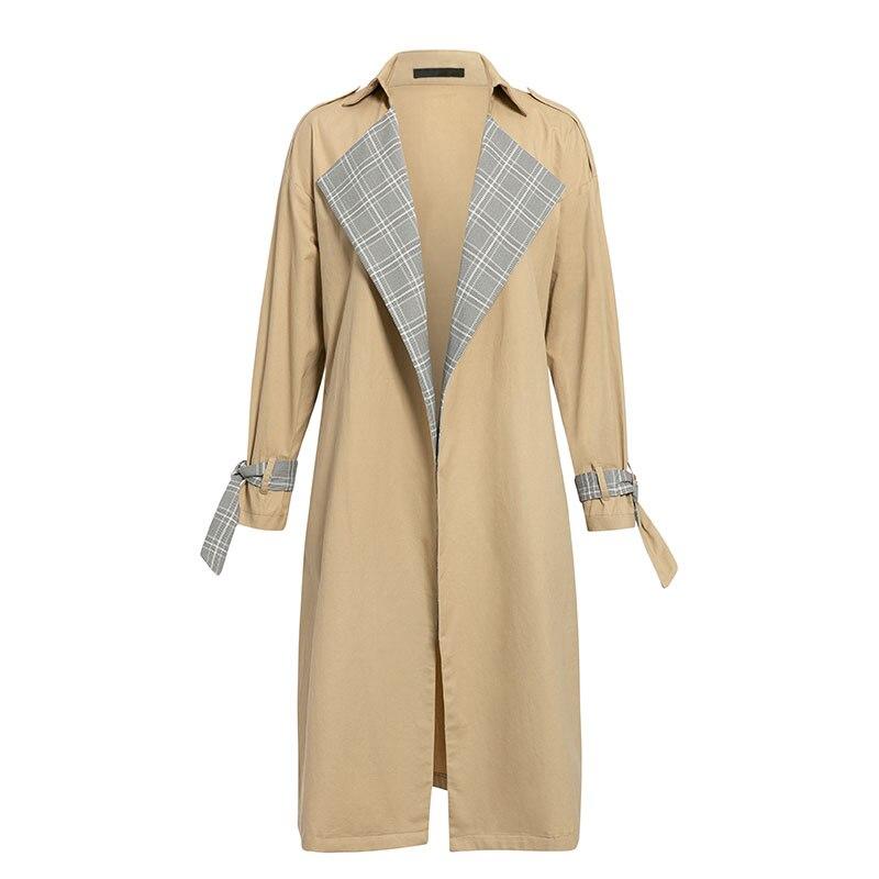 Turmeric Elegant trench Khaki coat autumn winter coat women Casual plaid long overcoats Vintage stitching outwear Office coat 8