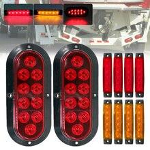 SALE 10PCS Car Light Set 12V 10LED Red Tail Light Brake Light 6LED Red/Yellow Side Marker Lights Waterproof for Trucks Trailers
