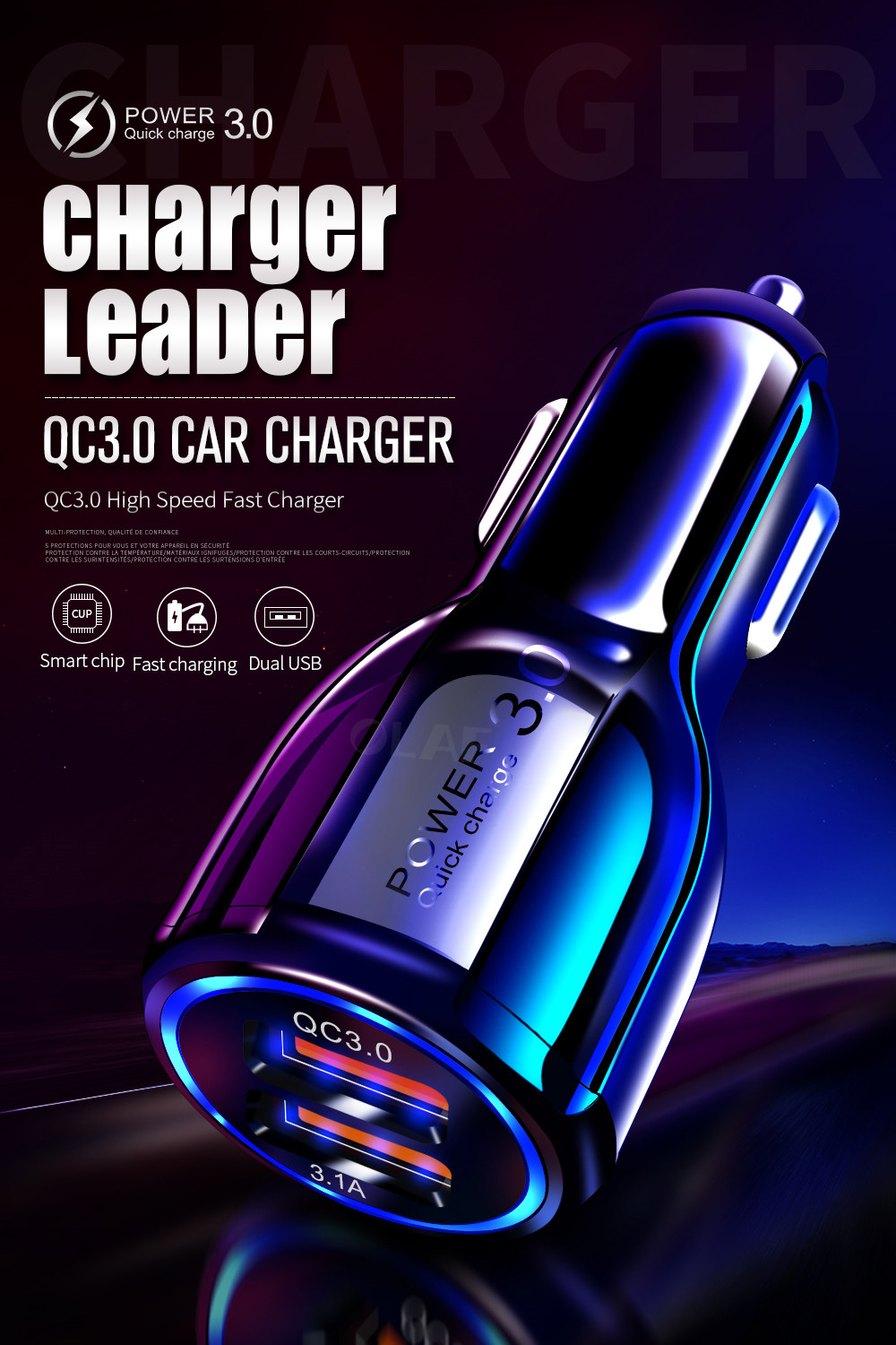 Car USB Charger Quick Charge 3.0 2.0 Mobile Phone Charger 2 Port USB Fast Charger for iPhone Samsung Tablet Car Charger