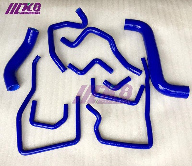 Kit de tuyau de liquide de refroidissement pour radiateur en Silicone pour SUBARU IMPREZA ver10 GRB GRF STI WRX (10 pièces) rouge/bleu/noir - 2