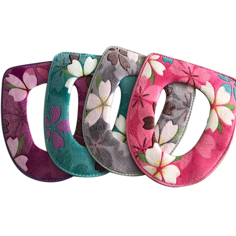 1pc Floral Printing Toilet Seat Covers Cushion Warm Comfortable Coral Velvet Overcoat Toilet Case Bathroom Accessories