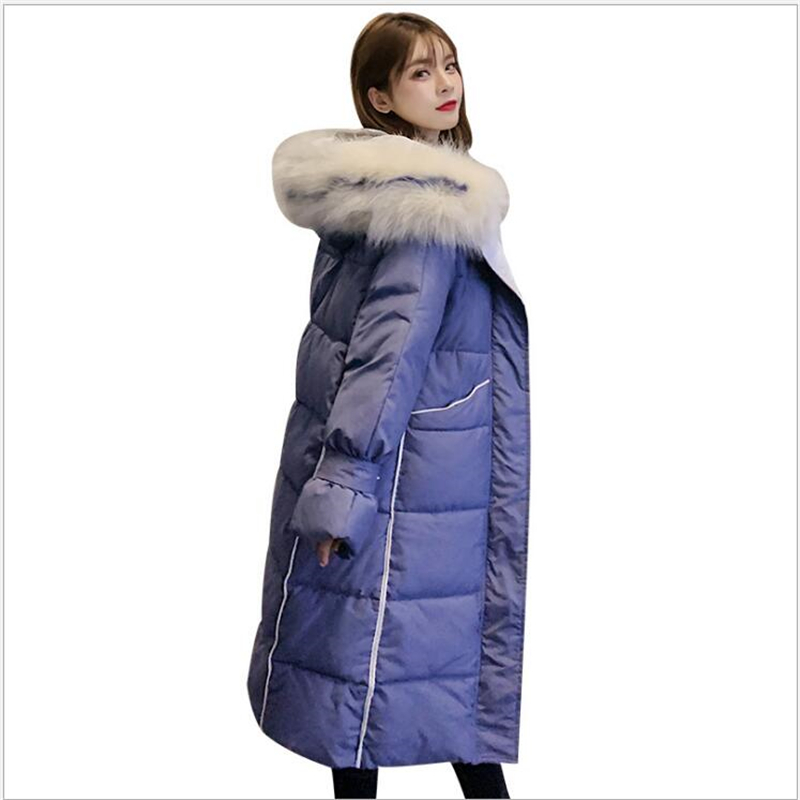 High quality 2019 women winter jacket long hooded warm thicken winter coat women solid cotton padded female   parka   Z159