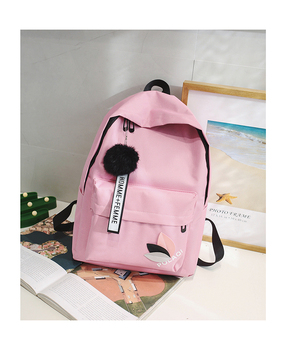 2020 Solid backpack girl school bags for teenage College wind Women SchoolBag High student bag black nylon printing - Pink, China