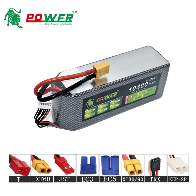 Lion Power 22.2v 10400maH 45C Lipo Batterry For RC Drones Cars Boat Quodcopter Spare Part 6s 10000mah 22.2v Rechargeable battery image