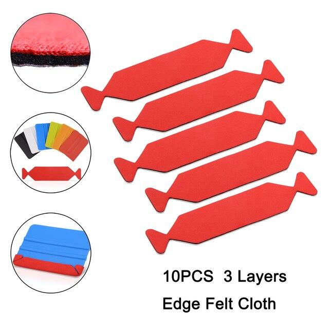 EHDIS 10PCS 3 레이어 방수 가장자리 패브릭 펠트 10CM 카드 스크레이퍼 플라스틱 스퀴지 호일 비닐 필름 랩 색조 도구 수호자