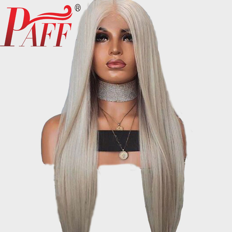 PAFF #60 Ash Blonde Lace Front Human Hair Wigs Straight 180% Density Brazilian Remy Hair Pre Plucked Baby Hair Transparent Lace