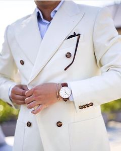 Custom Made White Ivory Double Breasted Men Suits For Wedding Slim Fit Street Wear Smart Business Male Blazer With Pants 2 Piece