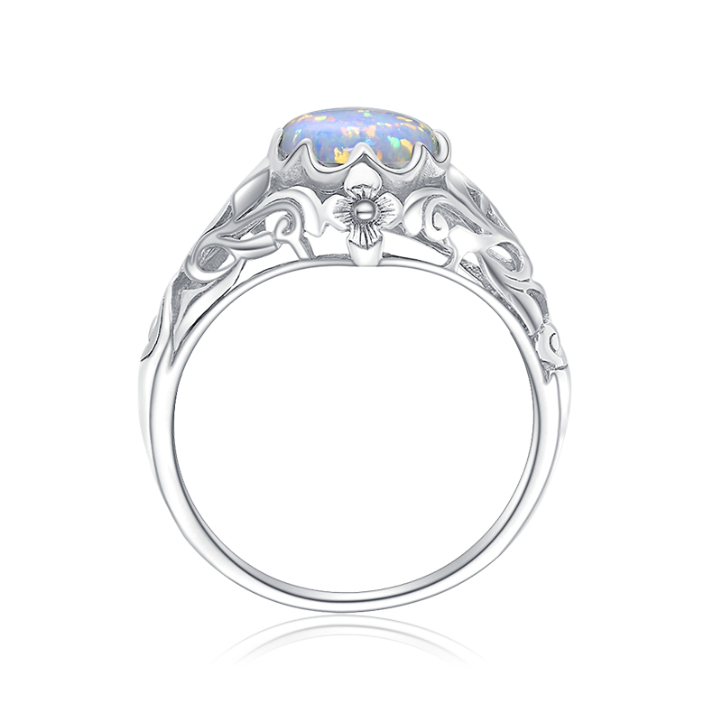 Image 2 - Szjinao Opal Ring For Women 925 Sterling Silver Vintage Gemstone Rings Fower Fascination Luxury Brand Jewelry Wedding Gift 2020ring fashionring forring for sale -