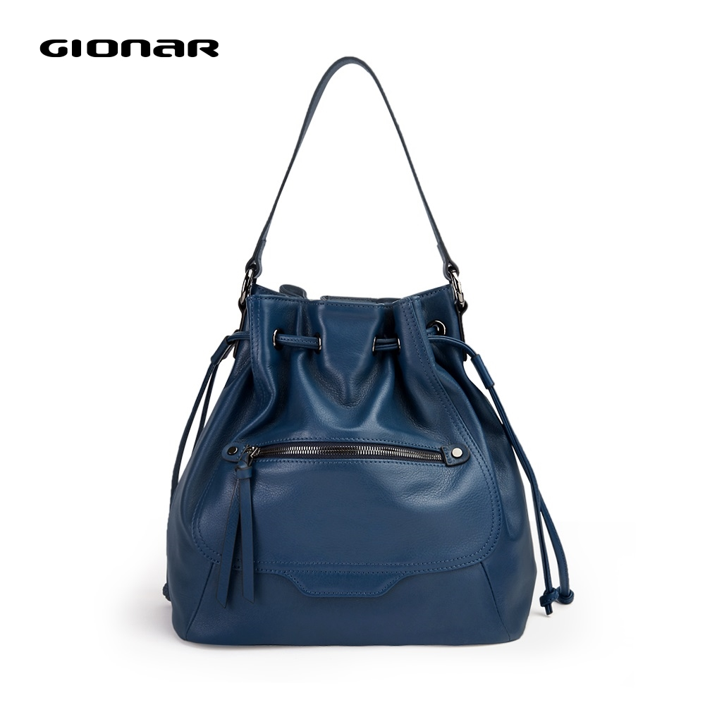 GIONAR Soft Real Cow Leather Drawstring Bucket Bags For Women Designer Luxury Handbags High Quality Crossbody Shoulder Bags