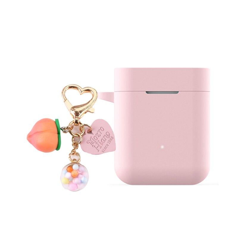 For Xiaomi Mi AirDots Pro/ Mi True /Air Lite / Case Cute peach Love heart Keyring Silicone Earphones case for Xiaomi Air 1 Cover