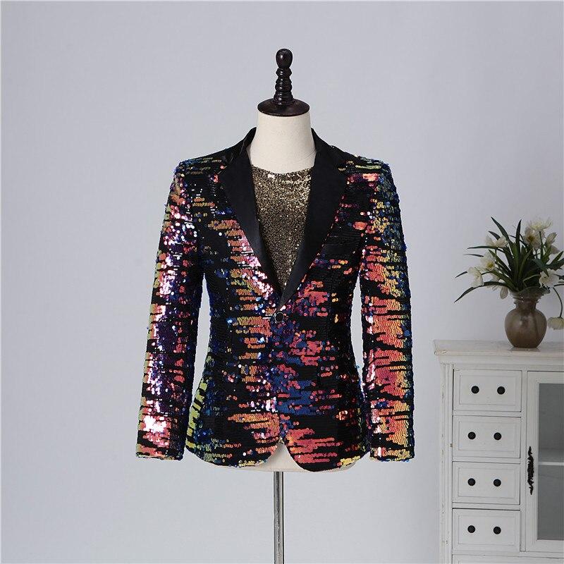 Masculino multi color lantejoulas blazer terno jaquetas bar discoteca concerto cantor estágio casual casaco cantor anfitrião desempenho traje - 2