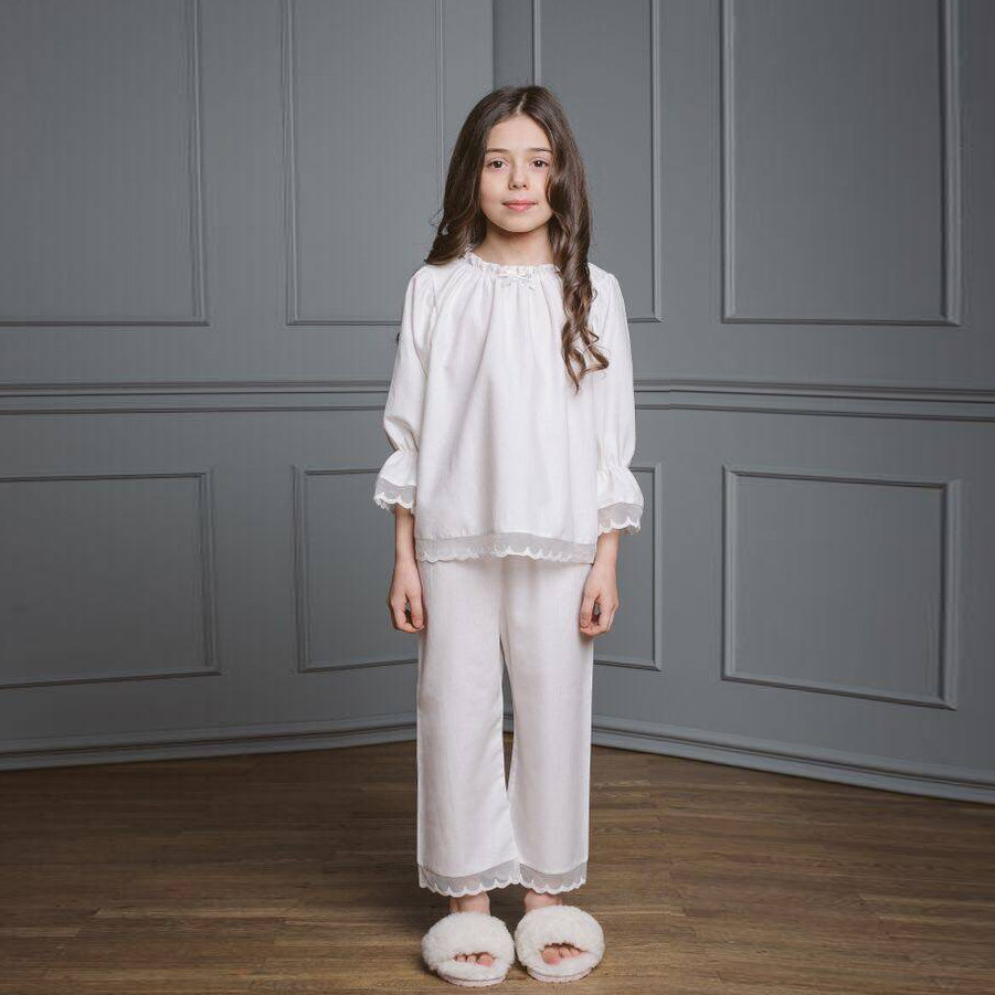 2019 Autumn And Winter Customizable Children Tracksuit Girls Lace Pajamas Suit With 30% Real Silk