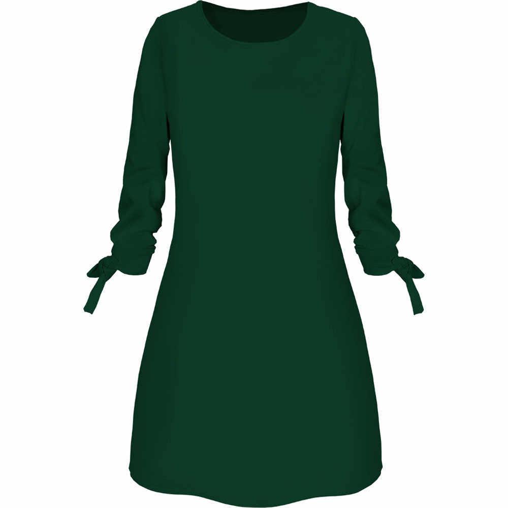 2019 ฤดูใบไม้ผลิใหม่แฟชั่นสีทึบชุดลำลอง O-Neck ชุดหลวม 3/4 Sleeve Bow Elegant Beach หญิง Vestidos PLUS ขนาด