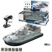 HG C201 1:110 2.4G RC Boat Ship Model Landing Water Air Cushion Landing Craft Remote Control Toys For Boys   EU / US Plug