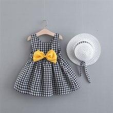 Sukienka dla dziewczynki drukuj Plaid Bow letnia sukienka dla księżniczki niemowlę maluch ubrania noworodka sukienka dla dzieci + kapelusz 2 szt. Zestaw odzieży dla dzieci