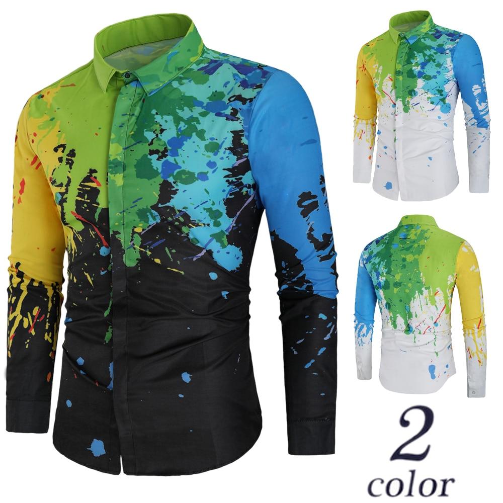 Rrive Mens Slim Casual Printed Long Sleeve Lapel Button Down Dress Work Shirt