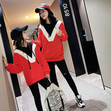 2019 Fashion Family Matching Spring Autumn Hoodies Cotton  mother and daughter clothes Full Sweatshirt family matching clothes
