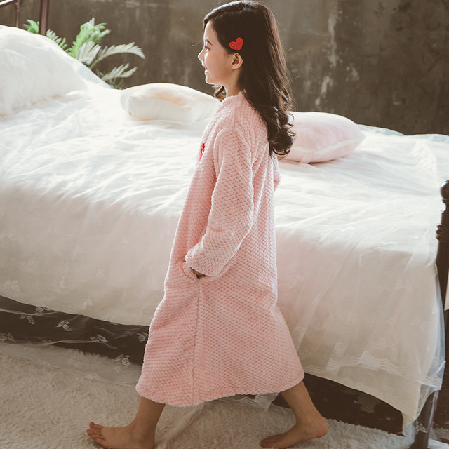 Girl Autumn Winter Long Warm Flannel Bathrobe for Girls Cozy Bath Robe Zipper Night Dressing Gown Kids Sleepwear Size 6 8 10 12Y